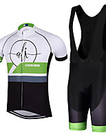 Sports QKI Cycling Jersey with Bib Shorts Men's Short Sleeve BikeBreathable / Quick Dry / reflective stripe/5D coolmax gel pad