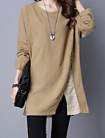 Women's Casual/Daily Simple Fall / Winter T-shirt,Solid Round Neck Long Sleeve Red Polyester Medium
