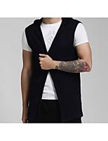 Herren Standard Strickjacke-Lässig/Alltäglich Einfach Solide Schwarz Ständer Langarm Baumwolle Herbst Mittel Mikro-elastisch