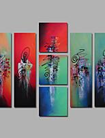 Handgemalte Abstrakt / Stillleben Ölgemälde,Europäischer Stil / Modern / Mediterran Mehr als fünf Panele Leinwand Hang-Ölgemälde For Haus