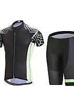 Esportivo Camisa com Shorts para Ciclismo Homens Manga Curta MotoRespirável / Secagem Rápida / Design Anatômico / Zíper Frontal / Tapete