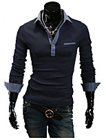 Hight Quality Men's Casual/Daily Simple Spring / Fall T-shirtSolid Shirt Collar Long Sleeve White Cotton Medium Hot Sale