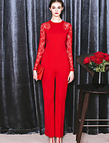 MASKED QUEEN Women's Solid Red JumpsuitsSimple Crew Neck Long Sleeve