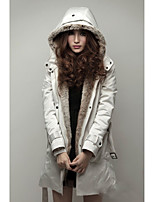 Maggie Tang Women's Hooded Down Coat with Detachable Faxed Fur Lining C004A