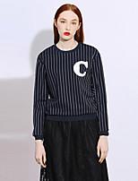 Tee-shirt Femme,Rayé / Lettre Décontracté / Quotidien simple Printemps / Automne Manches Longues Col Arrondi BleuRayonne / Polyester /