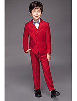 Polyester / Serge / Polester/Cotton Blend Ring Bearer Suit - Five-piece Suit Pieces Includes  Jacket / Shirt / Vest / Pants / Bow Tie