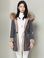 Женский На каждый день Вышивка Пальто с мехом Капюшон,Простое Осень / Зима Серый Длинный рукав,Шерсть,Толстая