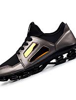 Men's Sneakers Spring Fall Comfort Microfibre Outdoor Athletic Flat Heel Lace-up Black Silver Running