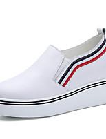 Черный Белый-Женский-Для прогулок Для офиса Повседневный-Кожа-На танкетке На платформе-На платформе Удобная обувь-Мокасины и Свитер
