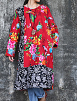 Chemise Femme,Fleur / Mosaïque Décontracté / Quotidien Chinoiserie Hiver Manches Longues Col Arrondi Rouge Coton / Lin Moyen