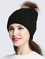 Women Vintage Casual Solid color Curling Edge protection ear knitting wool cap