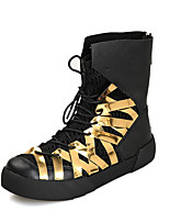 Men's Boots Spring Fall Winter Other Leather Casual Platform Lace-up Black Red Metallic Other