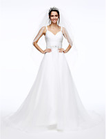 Lanting Bride® A-line Wedding Dress Court Train Spaghetti Straps Organza with Ruche / Sash / Ribbon / Beading / Button / Criss-Cross