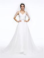 Lanting Bride® A-Linie Hochzeitskleid Hof Schleppe Spaghetti-Träger Organza mitHorizontal gerüscht / Schärpe / Band / Perlstickerei /