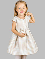 Girl's Casual/Daily Houndstooth Dress,Cotton / Polyester All Seasons Brown