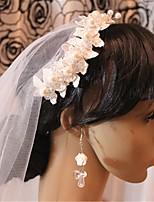 Mulheres Liga / Imitação de Pérola / Rede Capacete-Casamento Véus de Rede 1 Peça