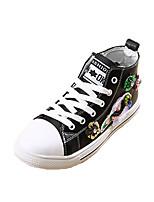 Черный Белый-Для девочек-Для прогулок Для праздника Повседневный Для занятий спортом-Кожа-На плоской подошве-Удобная обувь-Кеды
