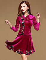 Latin Dance Outfits Training Velvet Ruffles 2 Pieces Long Sleeve Natural Top / Skirt