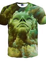 Men's Short Sleeve T-Shirt,Polyester Casual Print