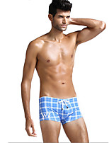 Men Plaid Shaping Panties Boxer Briefs,Cotton / Nylon / Spandex