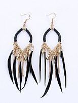 European And American Fashion Circle Tassels Eardrop National Wind Feather Earrings Female Accessories