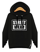 Women's Casual/Daily Simple Regular HoodiesLetter Black / Gray Hooded Long Sleeve Polyester All Seasons