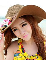 Women Casual 3D flowers flanging big brim sun beach Stitching color straw hat