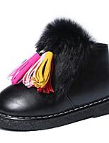 Girl's Boots Fall Winter Comfort PU Dress Casual Flat Heel Zipper Black Red Walking