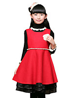 Girl's Casual/Daily Solid DressCotton Spring / Fall Red