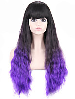 Fashion Style Long Wavy Hair Wig with Bangs Black and Purple Ombred Color Synthetic Wigs for Women