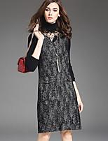 1898 Women's Plus Size / Casual/Daily Simple Loose DressColor Block V Neck Knee-length