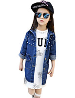 Girl's Casual/Daily Solid Trench Coat,Linen Spring / Fall Blue