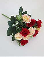 Set of 1 PCS 1 Une succursale Polyester Roses Fleur de Table Fleurs artificielles Long 10.3(inch)