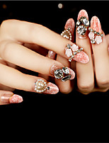 24Pcs Pearl Diamond Iong Nail Strips Exquisite Elegant 1Set