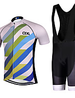 Sports QKI Cycling Jersey with Bib Shorts Men's Short Sleeve BikeBreathable / Quick Dry /reflective stripe/5D coolmax gel pad