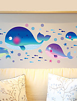 Waterproof PVC Cartoon Whale Fish Bathroom Wall Stickers DIY Removable Living Room Wall Decals