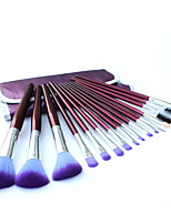 16 Makeup Brushes Set Nylon Hair Professional / Portable Wood Handle Face/Eye/Lip Purple