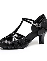 Chaussures de danse(Noir / Bleu) -Personnalisables-Talon Bottier-Paillette Brillante-Latine
