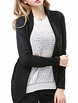 Women's Casual/Daily / Holiday Sexy / Street chic Regular Cloak / Capes,Solid Beige / Black Peter Pan Collar Long Sleeve CottonFall /