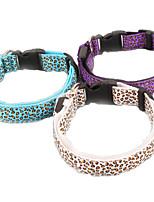 Dog Collar Adjustable/Retractable Leopard Multicolor Nylon
