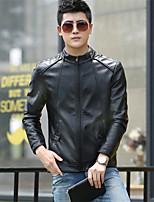 Мужчины Большие размеры Однотонный Кожаные куртки Воротник-стойка,Уличный стиль Осень Черный / Коричневый Длинный рукав,Полиуретановая,