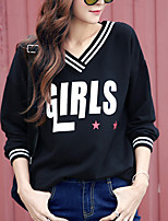 Women's Casual/Daily Vintage Regular HoodiesLetter Black V Neck Long Sleeve Polyester Fall Medium Micro-elastic