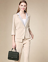 DOF Women's Work Simple Fall SuitsSolid Notch Lapel Long Sleeve Beige Cotton Thin