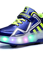 LED Light Up Shoes,Boy's Athletic Shoes Spring Summer Fall Winter Comfort PU Outdoor Casual Athletic Platform Buckle Black Blue White