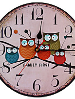 1PC  New European Style Vintage Creative Forest Owl Round Wood Wall Clock Quartz Bracket Kitchen Clocks Decoration Decor