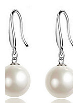 Fine S925 Silver 10mm Pearl Drop Ball Earrings
