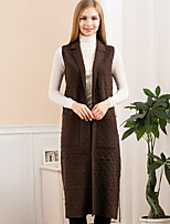 Women's Going out Simple Long Cardigan,Solid Blue / Red / Brown Notch Lapel Sleeveless Wool Winter Medium Inelastic