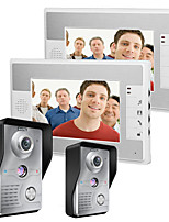 MOUNTAINONE 7 Inch Video Door Phone Doorbell Intercom Kit 2-camera 2-monitor Night Vision