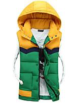 Пальто Простое Длинная Пуховик Мужчины,Контрастных цветов На каждый день Другое Без наполнителя,Длинный рукав Красный / Зеленый / Желтый
