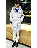 Men's Long Padded Coat,Simple Going out / Casual/Daily Solid-Polyester Polyester Long Sleeve Black / Gray